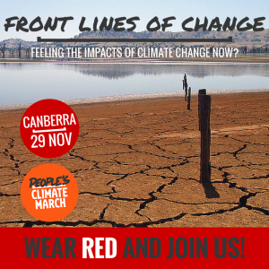 RED People's Climate March Canberra, 29 Nov 2015- Wear RED if you're on the Front Lines of Climate Change